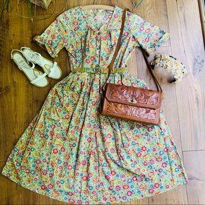 Vintage 1950s Floral Print Day Dress with Belt